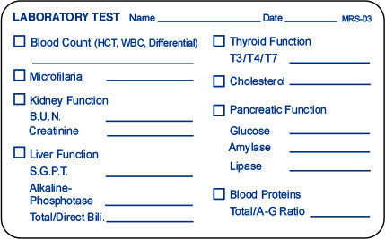 Medical Record Stickers - Lab Test