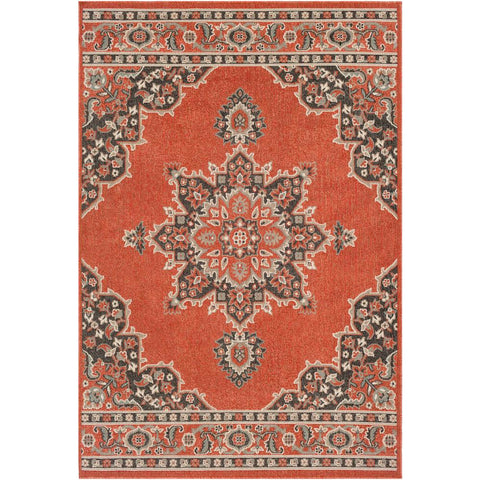 Alfresco Burnt Orange, Black Rug - Surya (ALF-9672)