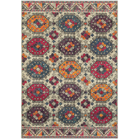 BOHEMIAN 405J5 Grey, Orange Rug - Oriental Weavers