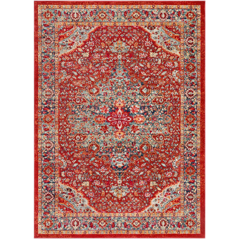 Bohemian Bright Red, Burnt Orange Rug - Surya (BOM-2307)