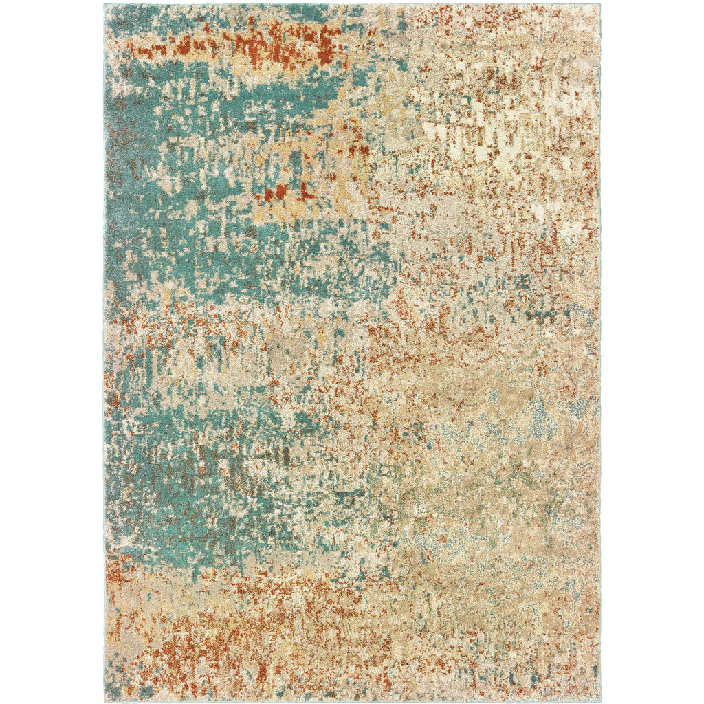 CARSON 9654B Blue, Orange Rug - Oriental Weavers