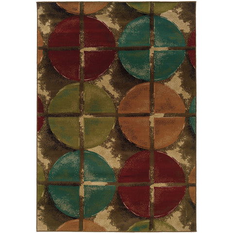 EMERSON 3680B Brown, Teal Rug - Oriental Weavers