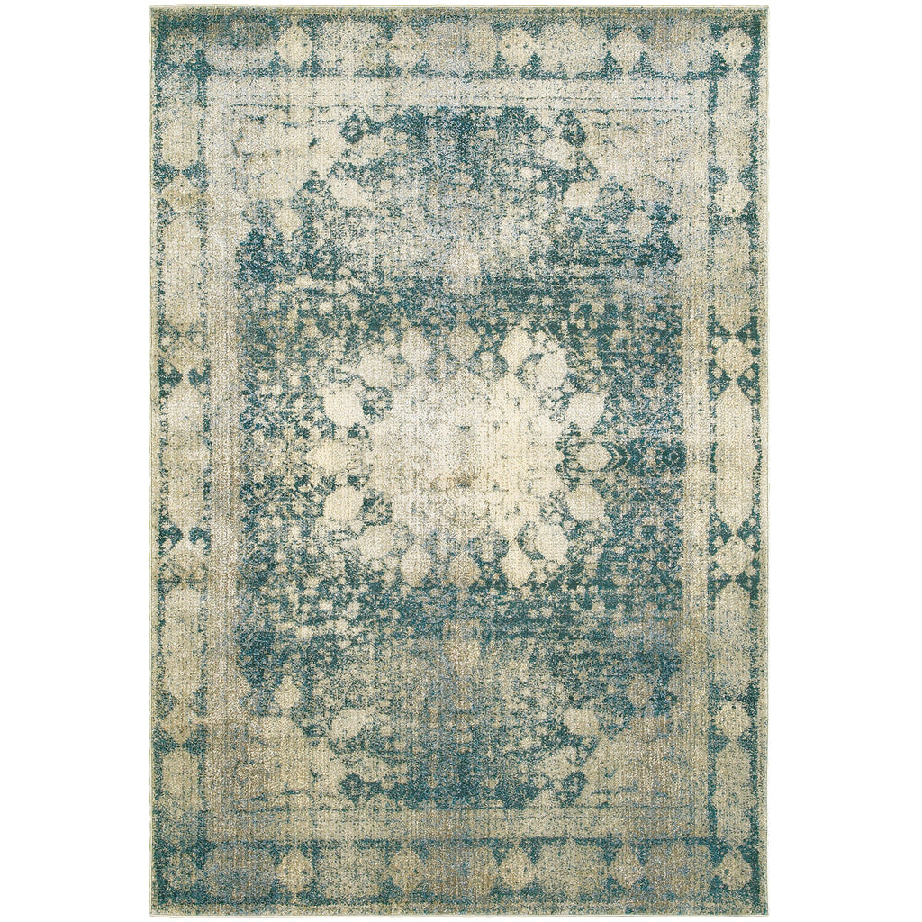 EMPIRE 4445S Ivory, Blue Rug - Oriental Weavers