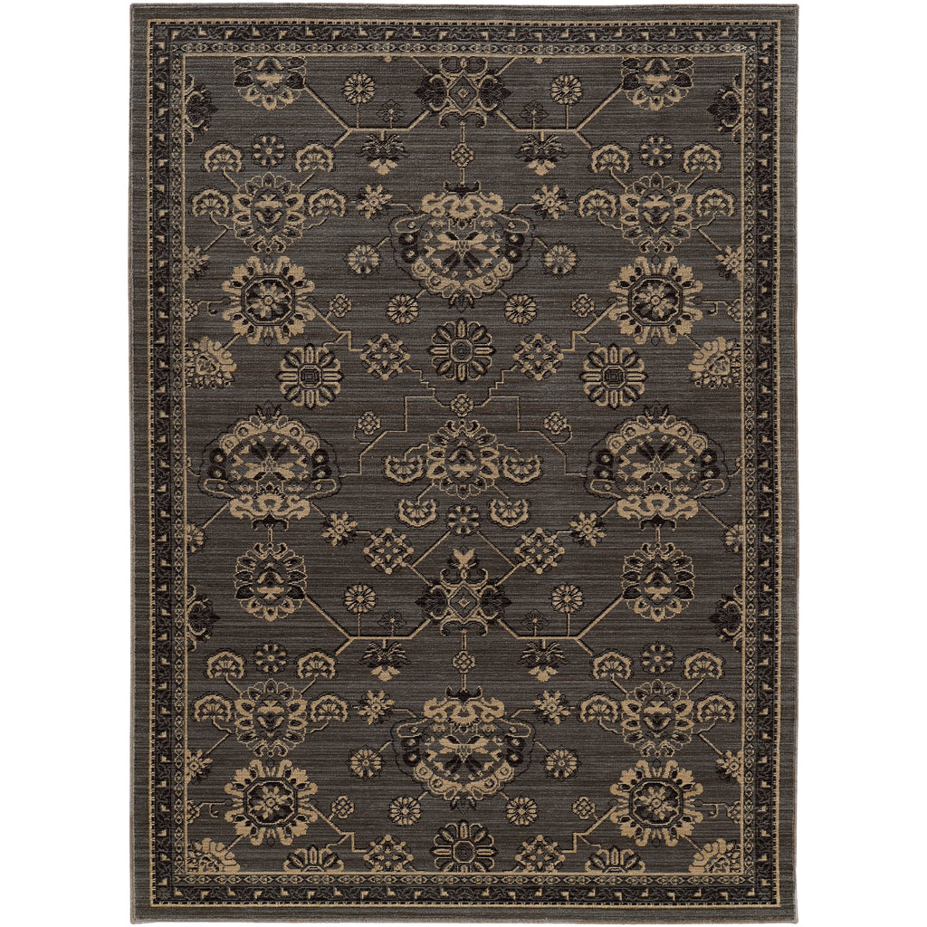 FOUNDRY 4923E Grey, Charcoal Rug - Oriental Weavers