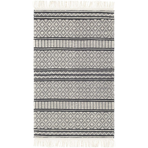 Farmhouse Tassels Charcoal, White Rug - Surya (FTS-2300)
