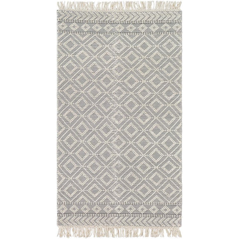 Farmhouse Tassels Medium Gray, White Rug - Surya (FTS-2303)