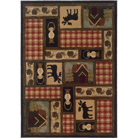 HUDSON 1067A Brown, Red Rug - Oriental Weavers