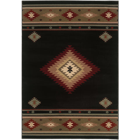 HUDSON 087G1 Black, Green Rug - Oriental Weavers