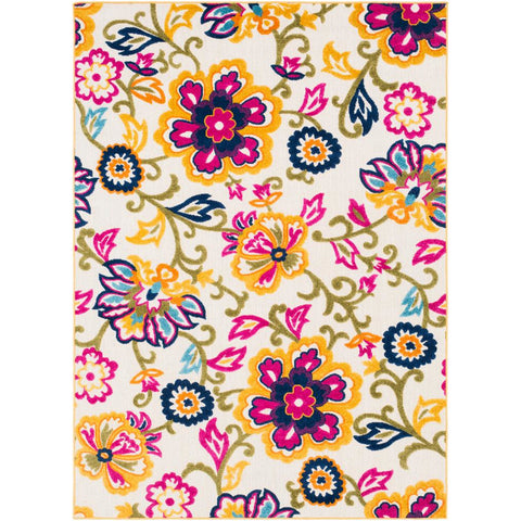 Jolene Bright Yellow, Cream Rug - Surya (JOL-1012)