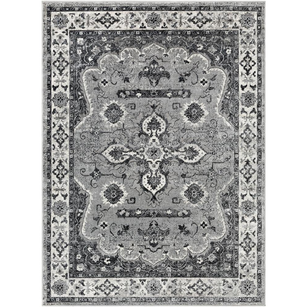 Mumbai Medium Gray, Black Rug - Surya (MUM-2310)