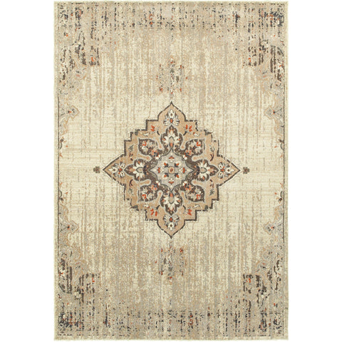PASHA 072J2 Ivory, Brown Rug - Oriental Weavers