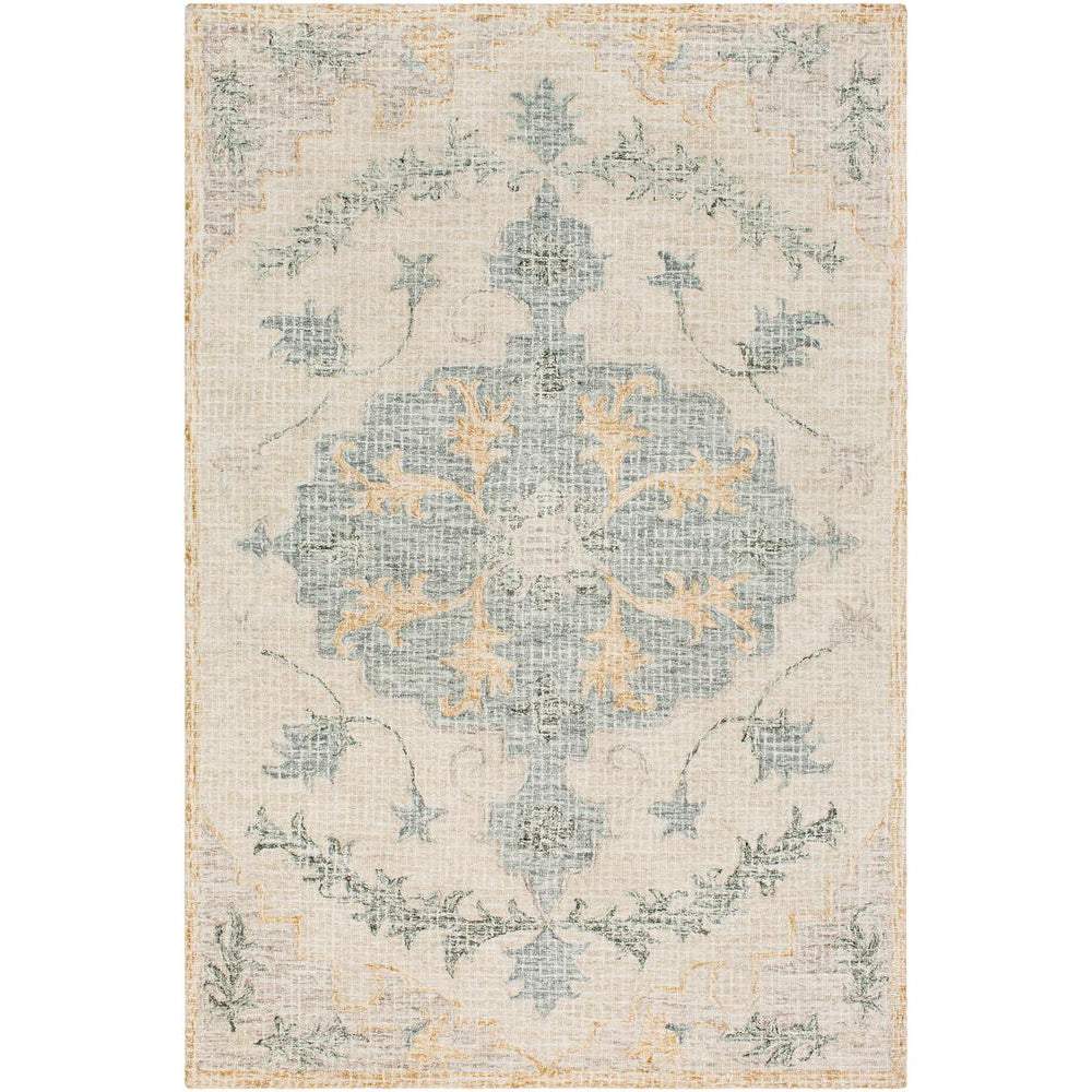 Piastrella Medium Gray, Teal Rug - Surya (PST-2307)