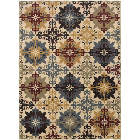 STRATTON 6017A Ivory, Blue Rug - Oriental Weavers