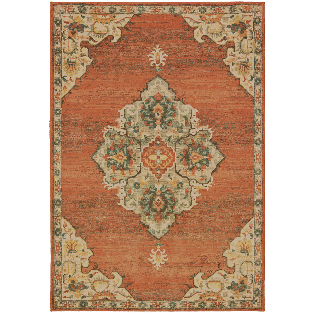 TOSCANA 9568B Orange, Grey Rug - Oriental Weavers