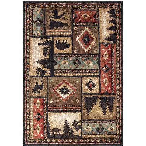 WOODLANDS 1041C Black, Rust Rug - Oriental Weavers