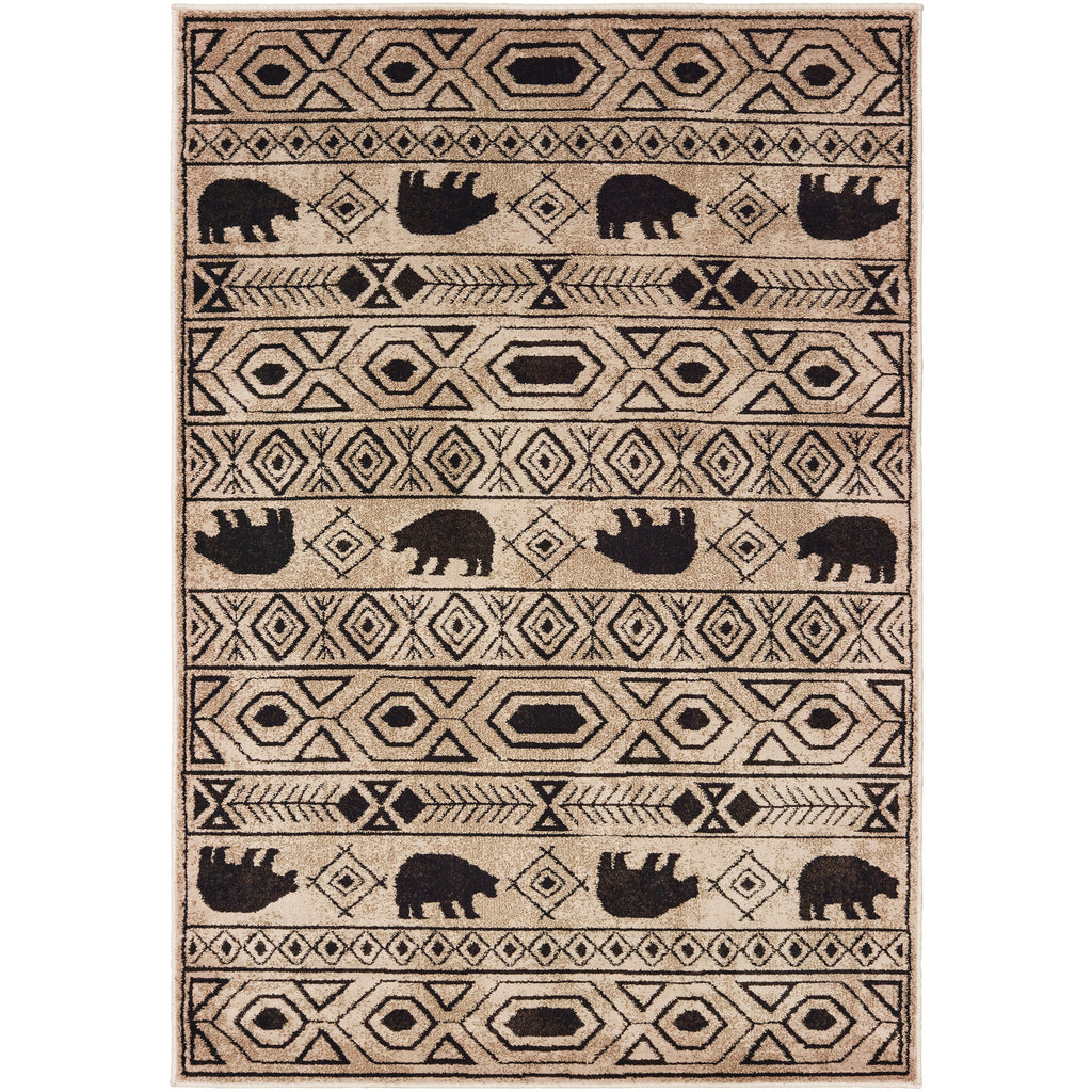 WOODLANDS 9651A Ivory, Black Rug - Oriental Weavers