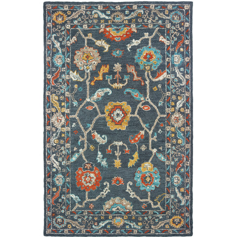 ZAHRA 75501 Blue, Gold Rug - Oriental Weavers