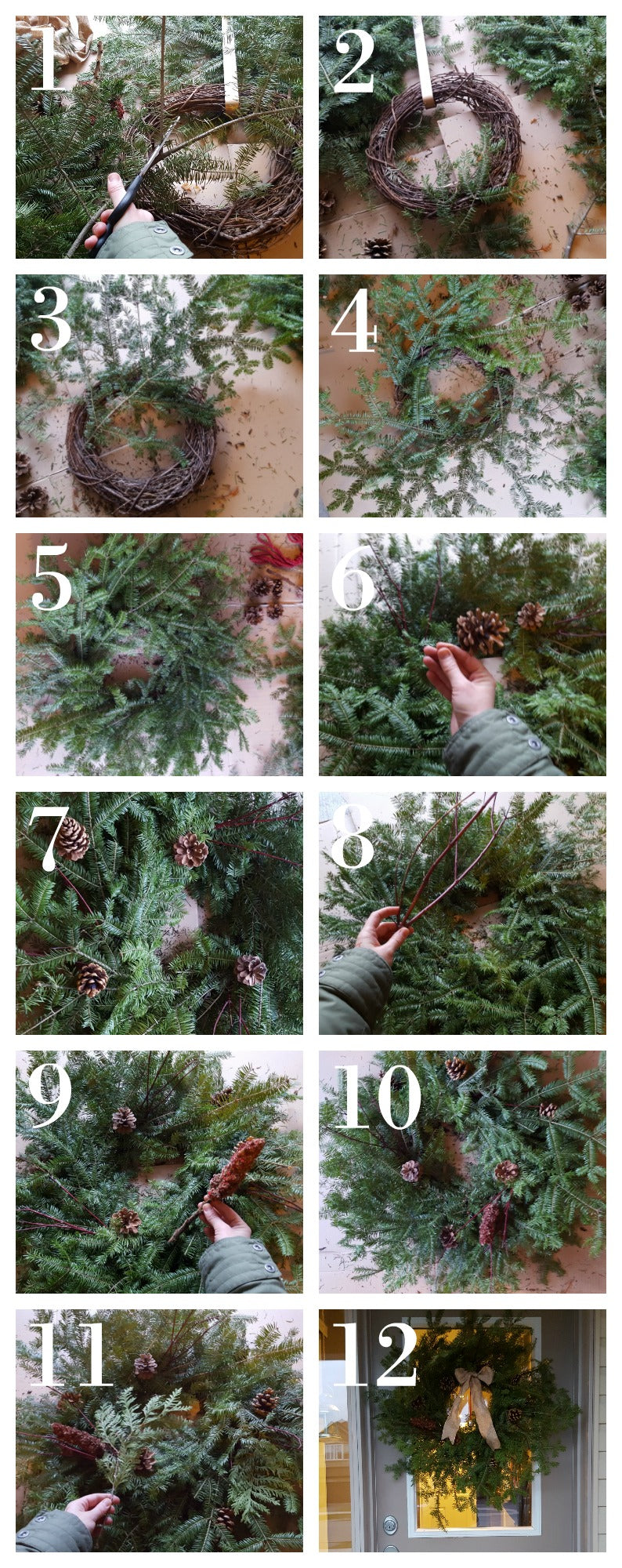 12 steps to make a natural Christmas wreath