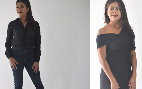 Two pictures, side by side of one model wearing black outfits.
