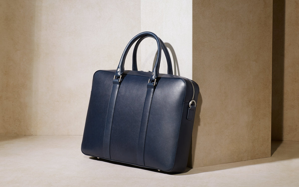 Navy Leather Briefcase