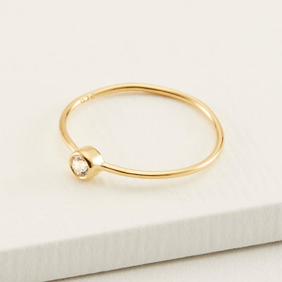Anja Ring - Gold Vermeil, White Topaz / 5
