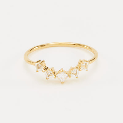 Aurora Ring - Gold Vermeil, White Topaz / 5