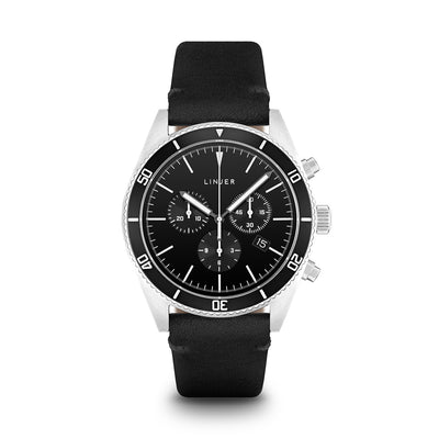 The Chrono-Diver - Leather - Black Dial, Black