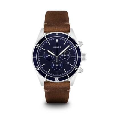 The Chrono-Diver - Leather - Blue Dial, Desert