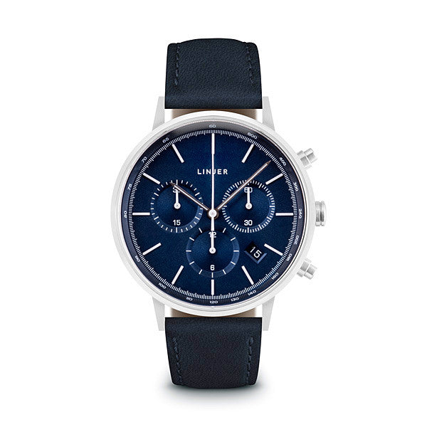 The Chronograph - Blue Dial, Silver/Navy