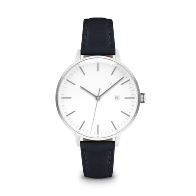 Women's The Minimalist Watch - Silver/Navy / 34mm