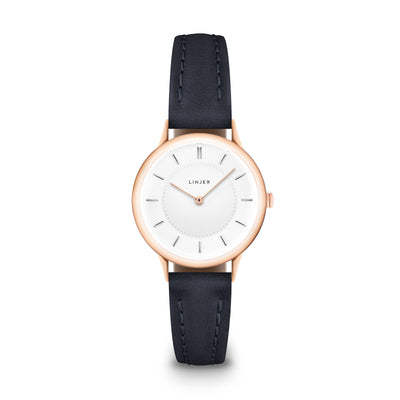 The Petite Watch - Rose Gold/Navy
