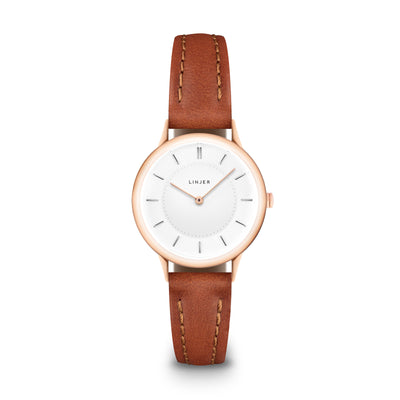 The Petite Watch - Rose Gold/Tan