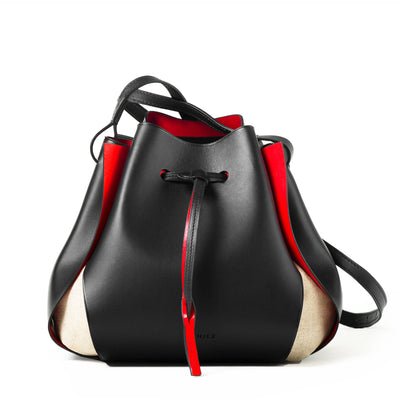 The Tulip Bag - Black/Red
