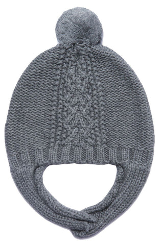 Angel Dear Cable Pilot Hat- Dark Heather Grey