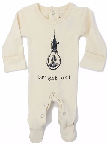 L'ovedbaby Organic Cotton Graphic Footie- Bright On!
