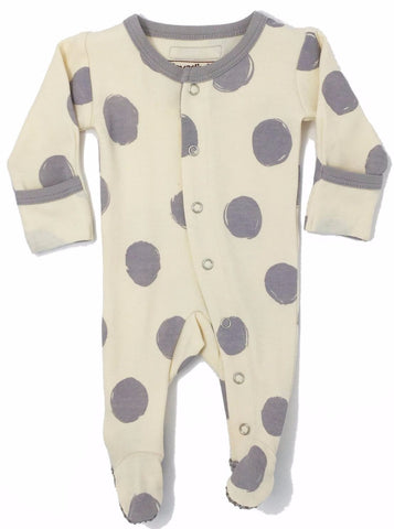L'ovedbaby Organic Cotton Footed Overall- Beige/Light Grey
