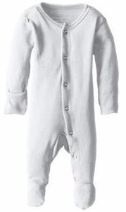 L'ovedbaby Organic Cotton Footed Overall- White