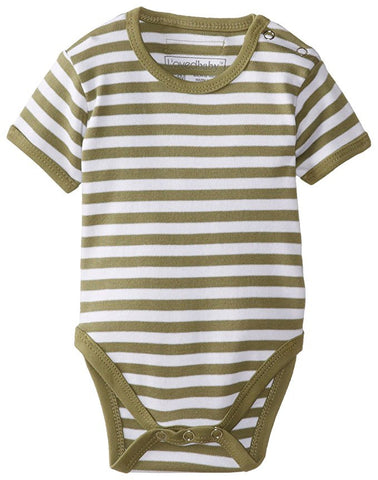 L'ovedbaby Organic Cotton Short-Sleeve Bodysuit- Sage/White Stripe