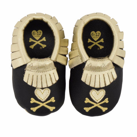 MOC HAPPENS™ Leather Baby Moccasins- Gold and Black Toki