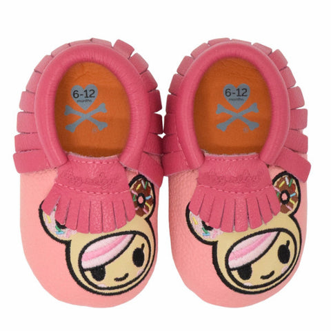 MOC HAPPENS™ Leather Baby Moccasins- Donutella