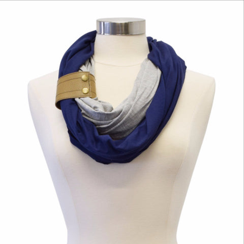 Infinity Breastfeeding Scarf With Genuine Leather Cuff- Navy with Oak Cuff