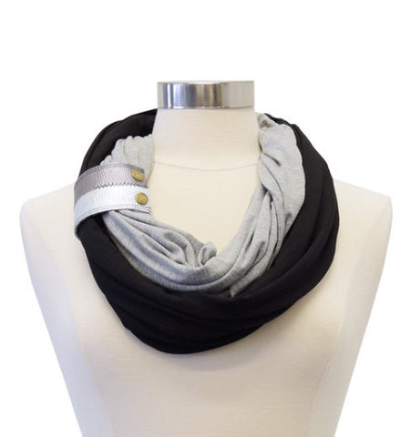 Infinity Breastfeeding Scarf With Genuine Leather Cuff- Jet Smoke with Metallic Cuff
