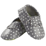 MOC HAPPENS™ Leather Baby Moccasins- Ritzy Dot- Cute as a Button Baby Boutique