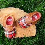 MOC HAPPENS™ Leather Baby Moccasins- Lumberjack Plaid
