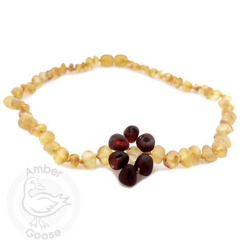 Baltic Amber Teething Necklace - Honey with Cherry Flower - Cute as a Button Baby Boutique