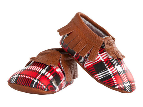 MOC HAPPENS™ Leather Baby Moccasins- Lumberjack Plaid- Cute as a Button Baby Boutique