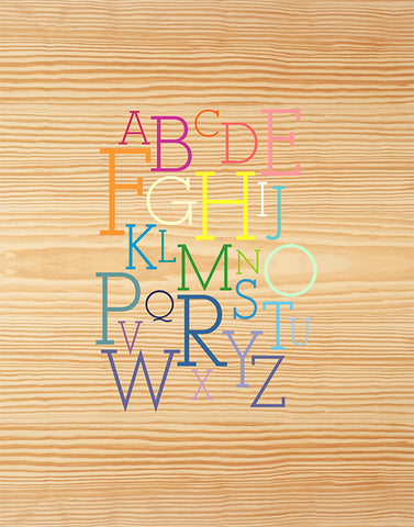 Red Umbrella Rainbow Alphabet Print