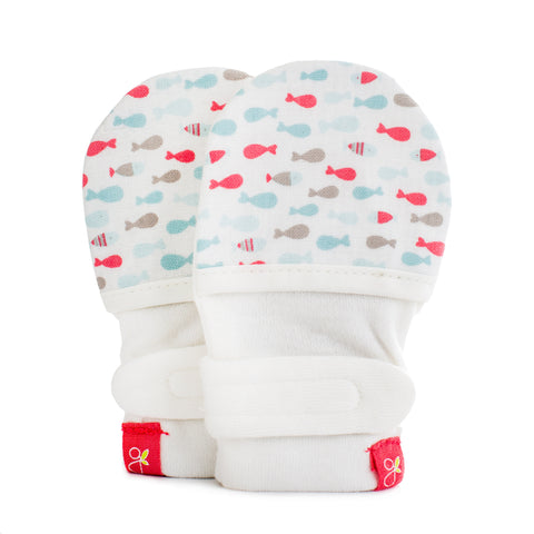 Goumi Mitts- Aqua School of Fish- Cute as a Button Baby Boutique