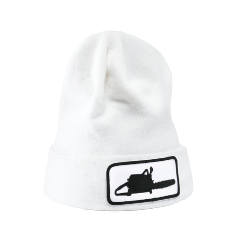 Chainsaw Patch White Beanie