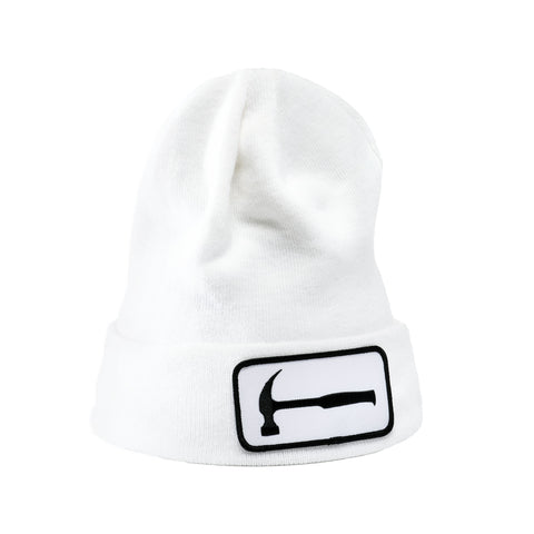 Hammer Patch White Beanie